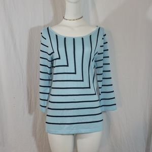 New York and company striped 3/4 sleeve blouse